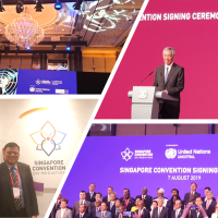 PracticeForte Advisory affiliates, Lim Seng Siew and @Rajan Chettiar witnessing the historic signing of the Singapore Convention on Mediation today. Support from 46 states!  Monumental!